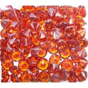 Кабошоны 12 мм «бриллиант» из ярко-оранжевого стекла