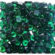 Кабошоны 12 мм «бриллиант» из темно-зеленого стекла