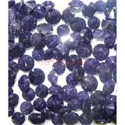 Кабошоны 10 мм «бриллиант» из стекла имитация синего авантюрина