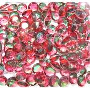 Кабошоны 10 мм «бриллиант» из красно-зеленого стекла