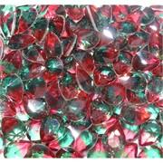Кабошоны 10x13 капли из красно-зеленого стекла