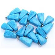 Подвески трапеции 2 см из голубой бирюзы с прожилками