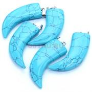 Подвеска «Клык» из голубой бирюзы с прожилками 5 см