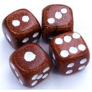 Кабошон игральный куб 2 см из коричневого авантюрина