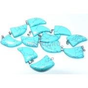 Подвеска «Клык» из голубой бирюзы с прожилками 3 см