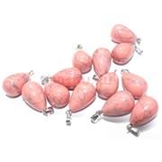 Подвеска «Капля» 3 см из розового коралла с прожилками