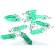Подвеска «Кристалл» 5 см из зеленого халцедона и металла
