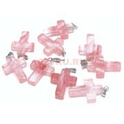 Подвеска «Крест» 2,2 см из розового халцедона