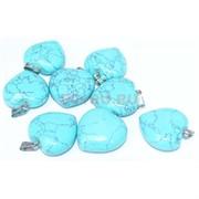 Подвеска «Сердце» 2,6 см из голубой бирюзы с прожилками