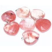 Подвеска «Сердце» 2,6 см из розового халцедона