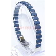 Мужской браслет (P-885) из синей матовой керамики под золото