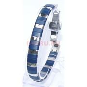 Мужской браслет (P-890) из синей матовой керамики под серебро