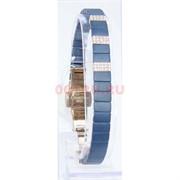 Мужской браслет (P-891) из синей матовой керамики под золото