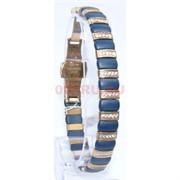 Мужской браслет (P-892) из синей матовой керамики под золото