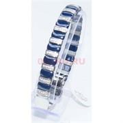 Мужской браслет (P-892) из синей керамики под серебро
