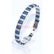 Мужской браслет (P-892) из синей матовой керамики под серебро