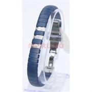Мужской браслет (P-887) из синей матовой керамики под серебро
