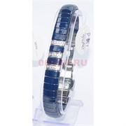 Мужской браслет (P-887) из синей керамики под серебро