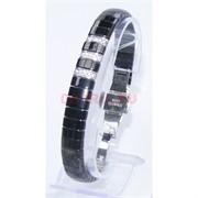 Мужской браслет (P-887) из черной керамики под серебро