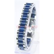 Мужской браслет (P-893) из синей керамики под серебро