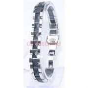 Мужской браслет (P-896) из черной матовой керамики под серебро