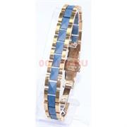 Мужской браслет (P-896) из синей матовой керамики под золото