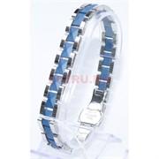 Мужской браслет (P-896) из синей матовой керамики под серебро