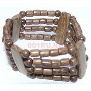 Браслет деревянный коричневый 4 ряда