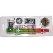 Трубка курительная D&K (8328F) цветная стеклянная c гриндером