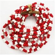 Браслеты красно-белые (M-46) из цветного бисера 100 шт/уп