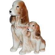 Собака спаниель со щенком (KL-1729) фарфоровая 14 см