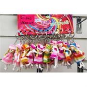 Брелок (KL-342) куколка в вязаной шапке и платье 120 шт/уп