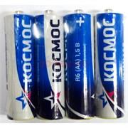 Космос (AA) R6 цинк-карбоновые 1,5V солевые батарейки 4 шт/уп (цена за упаковку)