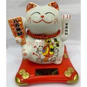 Кот керамический Манэки Неко 008F высота 13 см на солнечной батарее