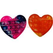 Игрушка пупырка сердце разноцветное мини 9 см