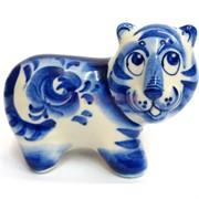 Фигурка Шерхан гжель (16) синяя Тигр Символ 2022 года