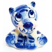 Фигурка Тихоня (4) синяя гжель Тигр Символ 2022 года