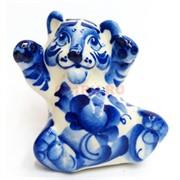 Фигурка Ленивец гжель синяя Тигр Символ 2022 года