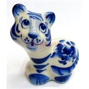 Фигурка Смелый гжель синяя Тигр Символ 2022 года