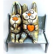 Фигурка зайцы сидящие из шамота