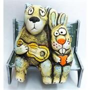 Фигурка заяц и волк (KN-00-43) сидящие из шамота