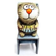 Фигурка Кот с гармонью на стуле (KN00-104) из шамота
