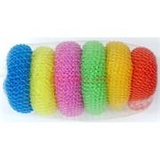 Губка-мочалка для мытья посуды цветные 6 шт/уп 200 наборов/коробка