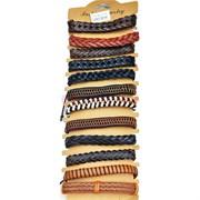Браслет кожаный цветной (BR-1426) разные виды 12 шт/уп