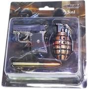 Набор лазер+фонарик «пистолет, граната, пуля»