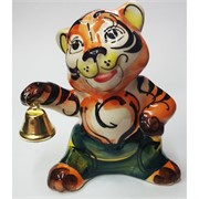 Фигурка Колокольчик (43А) цветная гжель Тигр Символ 2022 года