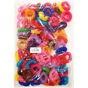Резинка для волос A-18 «пружинка» цветная 100 шт/уп (8 цветов)