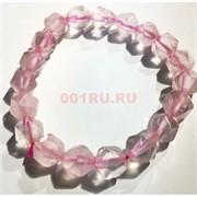Браслет 10 мм розовый кварц прозрачный крупная огранка
