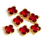 Коннектор соединитель Клевер красный крупный оправа под золото