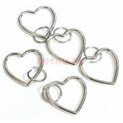 Подвеска сердце под серебро 2,4 см